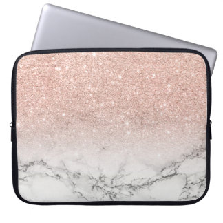För rosaglitter för modern faux rosa marmor för datorskydds fodral
