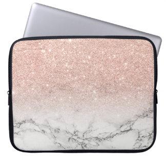 För rosaglitter för modern faux rosa marmor för laptop fodral