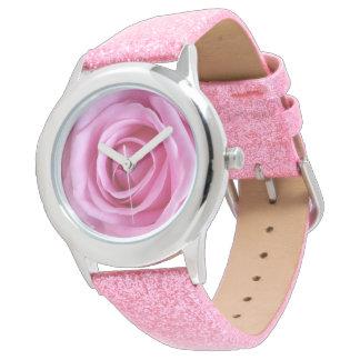 För rosaglitter för romantisk kärlek söt mjuk armbandsur