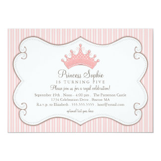 För rosakrona för Princess födelsedagsfest 12,7 X 17,8 Cm Inbjudningskort