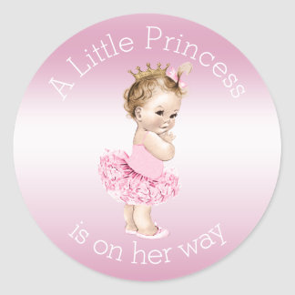 För rosor baby shower för Princess Ballerina lite Runt Klistermärke