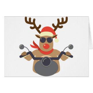 För Rudolf för jul rolig motorcykel biker Hälsningskort