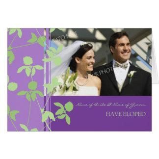 För rymning för att gifta sigfoto för lilor grönt hälsningskort