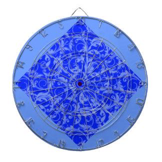 För safirblått för Retro vintage blom- Dartboard Darttavla