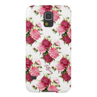 För Samsung för nätt vintagepion blom- fodral Galaxy S5 Fodral