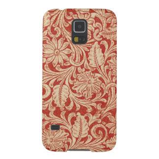 För Samsung för vintage damastast blom- röd Nexus Galaxy S5 Fodral