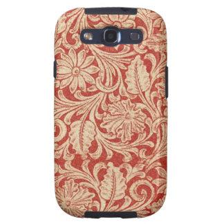 För Samsung för vintage damastast blom- röd Vibe Samsung Galaxy S3 Fodral