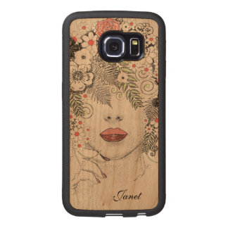 För Samsung S6 för mornaturabstrakt träfodral kant Wood Phone Skal