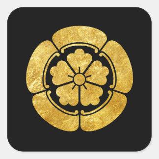 För samuraiklan för Oda Måndag japanskt guld för Fyrkantigt Klistermärke