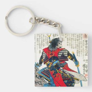 För samuraikrigare för kall orientalisk klassiker fyrkantigt dubbelsidigt nyckelring i akryl