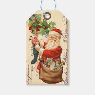 För Santa för gammal värld för vintage märkre gåva Presentetikett