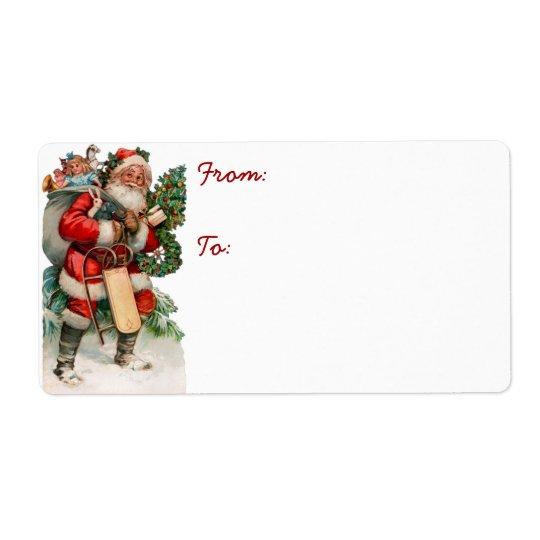 För Santa för vintage tyska etiketter för märkre Fraktsedel