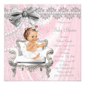 För satängpärla för rosor grå baby shower för stol fyrkantigt 13,3 cm inbjudningskort