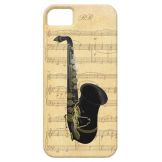 För saxofonnotblad för guld svart fodral för iPhone 5 cases