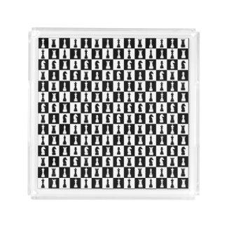 För schacklek för klassiker svartvitt mönster för bricka