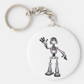 för Sci-Fi för halvton 3D vinka för grabb robot Rund Nyckelring