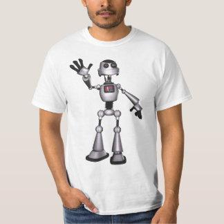 för Sci-Fi för halvton 3D vinka för grabb robot T-shirt
