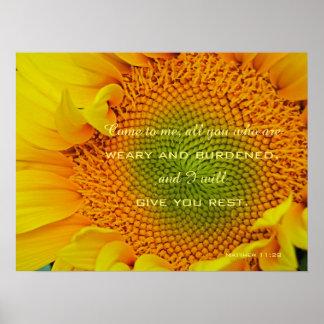 För Scripturefotografi för solros kristen affisch Poster