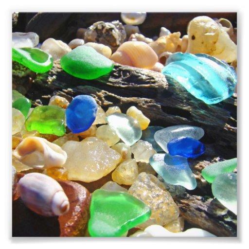 För Seaglass för blått grön strand för natur för f Fotografiska Tryck