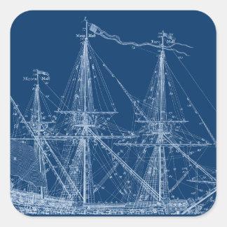 För seglingfrakt för blått högväxt ritning fyrkantigt klistermärke