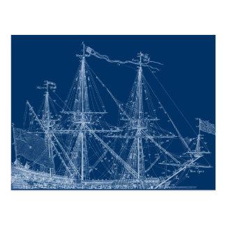 För seglingfrakt för blått högväxt ritning vykort