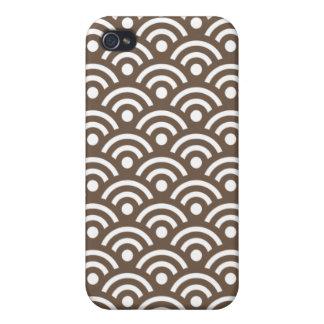 För Seigaiha för kaffe brunt Iphone 4/4S design iPhone 4 Fodraler