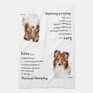 För Sheltie för Shetland Sheepdog gåvor älskare Kökshandduk