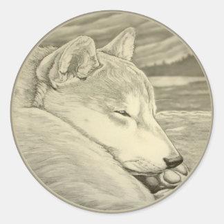 För Shiba Inu för Shiba Inu klistermärkehund Runt Klistermärke