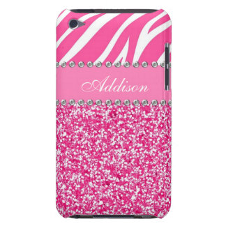 För shock rosaglitterzebra tryck för Rhinestone iPod Touch Case