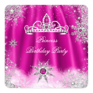 För shock rosaSnowflake för Princess Tiara Fyrkantigt 13,3 Cm Inbjudningskort