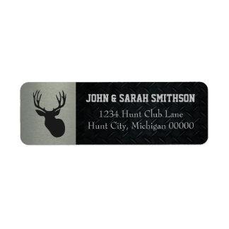 För silver och Antlered hjortreturadress för svart Returadress Etikett