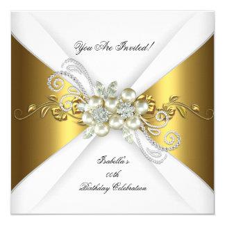 För silverdiamant för elegant pärlemorfärg guld- fyrkantigt 13,3 cm inbjudningskort