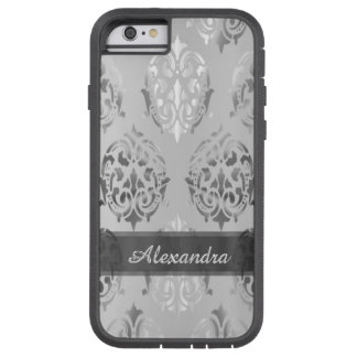 För silvergrått för personlig chic elegant damast tough xtreme iPhone 6 case