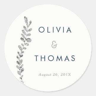 För silverlöv för färg redigerbar klistermärke, runt klistermärke