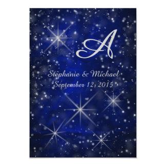 För silverMonogram för Starry natt eleganta blått 12,7 X 17,8 Cm Inbjudningskort