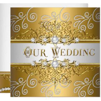 För silversnöre för bröllop elegant guld- diamant fyrkantigt 13,3 cm inbjudningskort
