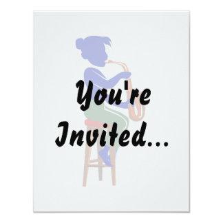 för sittaspelare för sax kvinnlig abstrakt 10,8 x 14 cm inbjudningskort