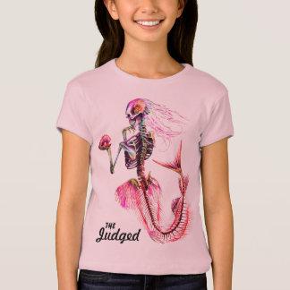 För sjöjungfruskelett för flickor rosa T-tröja T-shirt