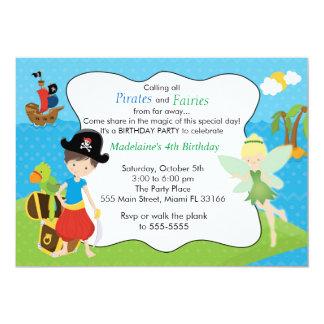 För skälmskt naturväxenbarns födelsedag för pirat 12,7 x 17,8 cm inbjudningskort