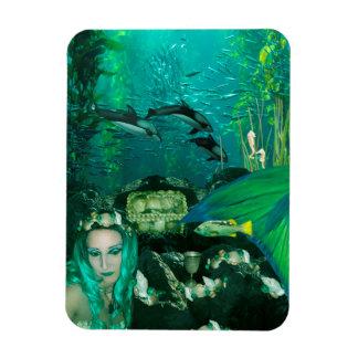 För skattfoto för sjöjungfru undervattens- magnet