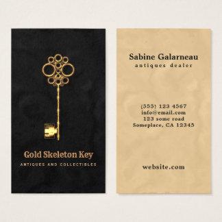 För skelettnyckel för vintage guld- antik visitkort