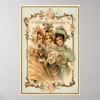 För smyckenfabrik för vintage fransk annonsering poster