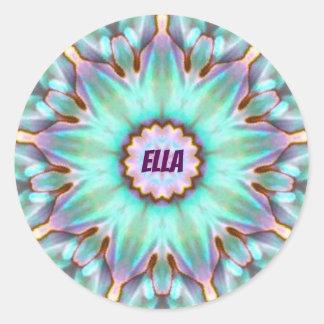 För snäckaFractal för ELLA ~ personifierad Paua ~ Runt Klistermärke