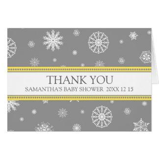 För snöbaby shower för vinter grått kort för tack