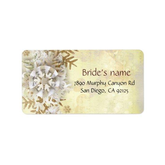 För snöflingoradress för jul elegant guld- etikett adressetikett