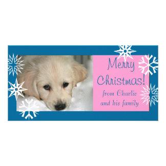 För snöflingorhund för blått rosa kort för foto fö fotokort