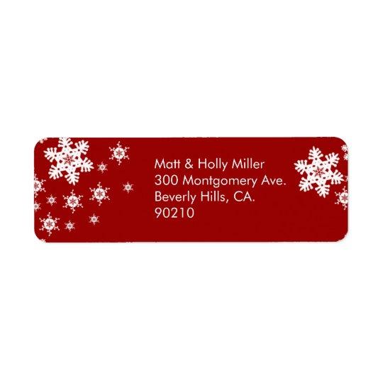 För snöflingorreturadress för mod röd etikett returadress etikett