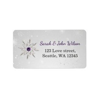 för snöflingorreturadress för silver purpurfärgad adressetikett