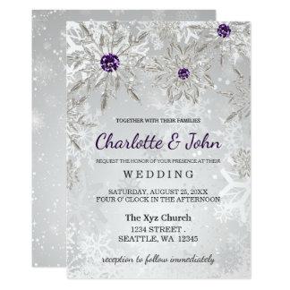 för snöflingorvinter för silver purpurfärgad 12,7 x 17,8 cm inbjudningskort