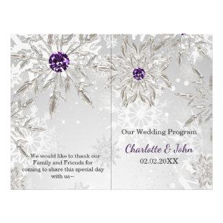 för snöflingorvinter för silver purpurfärgad reklamblad 21,5 x 30 cm